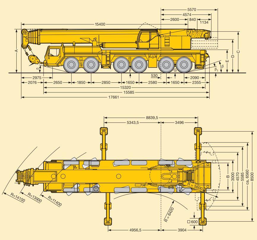 Автокран 250 тонн технические характеристики